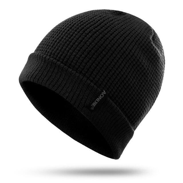 Aonijie M27 Unisex Winter Warm Sports Slouchy Cuffed Knit Beanie Hat Skull Cap-Running Caps-YOUGLE store-Black-Bargain Bait Box