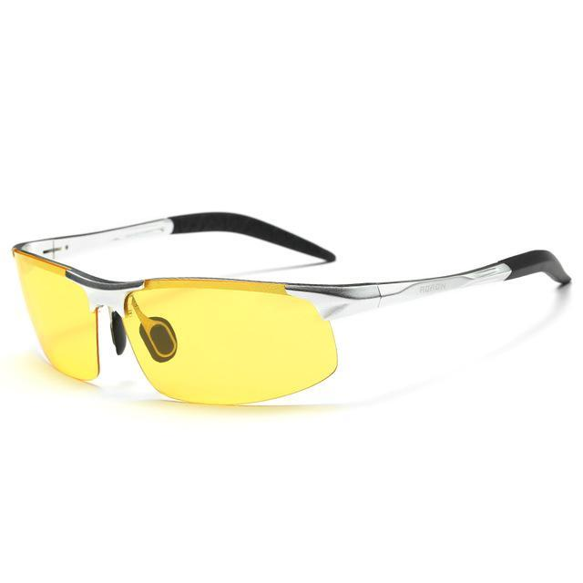 Aoron Al Hd Lens Pochromic Polarized Sunglasses Men Driving Day And Night Vision-Polarized Sunglasses-Bargain Bait Box-silver frame yellow-Bargain Bait Box