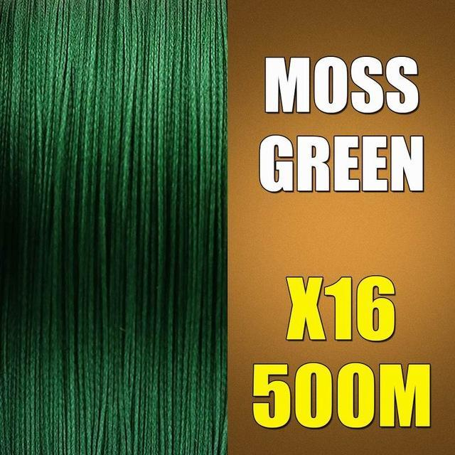 Ascon Fish 16 Strands Braided Fishing Line 500M Multifilament Fishing Line-AsconFish Pro Fishing Store-Moss Green-0.16MM-20LB-No. 1.0-Bargain Bait Box
