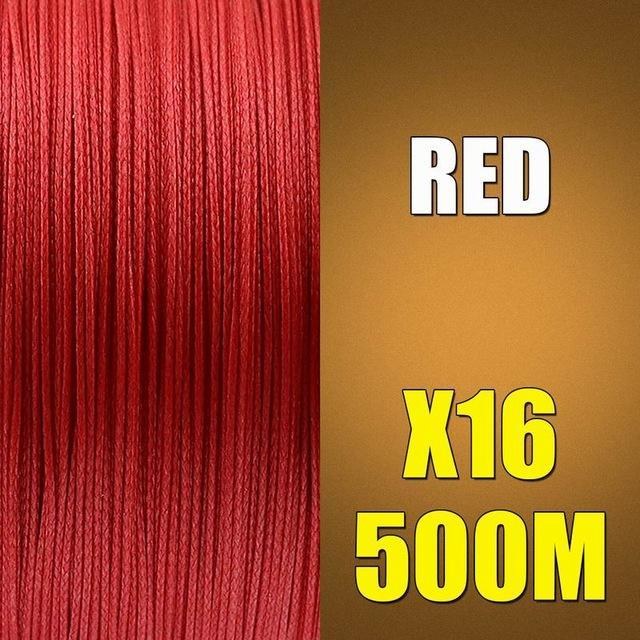 Ascon Fish 16 Strands Braided Fishing Line 500M Multifilament Fishing Line-AsconFish Pro Fishing Store-Red-0.16MM-20LB-No. 1.0-Bargain Bait Box