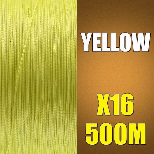 Ascon Fish 16 Strands Braided Fishing Line 500M Multifilament Fishing Line-AsconFish Pro Fishing Store-Yellow-0.16MM-20LB-No. 1.0-Bargain Bait Box