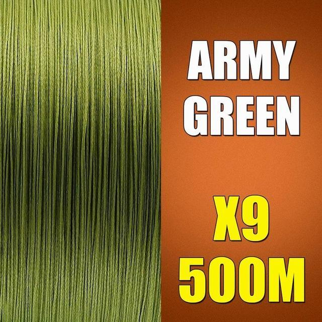 Ascon Fish 9 Strands Braided Fishing Line 500M Multifilament Fishing Line 9-AsconFish Pro Fishing Store-Army Green-0.14MM-15LB-No. 0.8-Bargain Bait Box