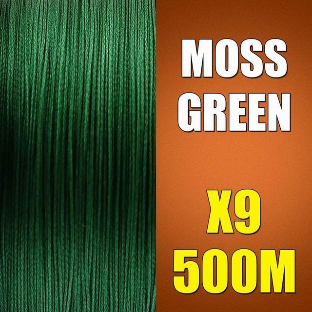 Ascon Fish 9 Strands Braided Fishing Line 500M Multifilament Fishing Line 9-AsconFish Pro Fishing Store-Moss Green-0.14MM-15LB-No. 0.8-Bargain Bait Box
