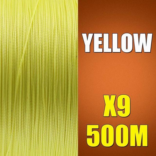 Ascon Fish 9 Strands Braided Fishing Line 500M Multifilament Fishing Line 9-AsconFish Pro Fishing Store-Yellow-0.14MM-15LB-No. 0.8-Bargain Bait Box
