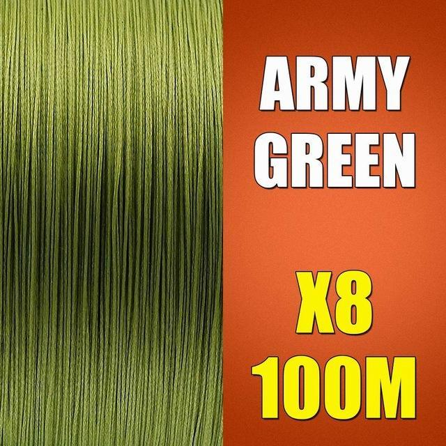Ascon Fish Braid 8 Strands Multifilament Fishing Line 8 Wire 100M Braided Line-AsconFish Pro Fishing Store-Army Green-0.10MM-6LB-No. 0.4-Bargain Bait Box