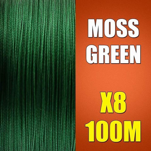 Ascon Fish Braid 8 Strands Multifilament Fishing Line 8 Wire 100M Braided Line-AsconFish Pro Fishing Store-Moss Green-0.10MM-6LB-No. 0.4-Bargain Bait Box