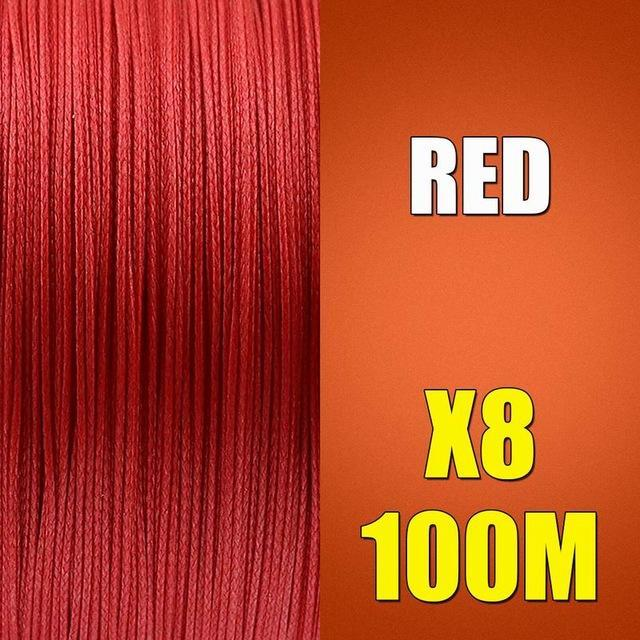 Ascon Fish Braid 8 Strands Multifilament Fishing Line 8 Wire 100M Braided Line-AsconFish Pro Fishing Store-Red-0.10MM-6LB-No. 0.4-Bargain Bait Box