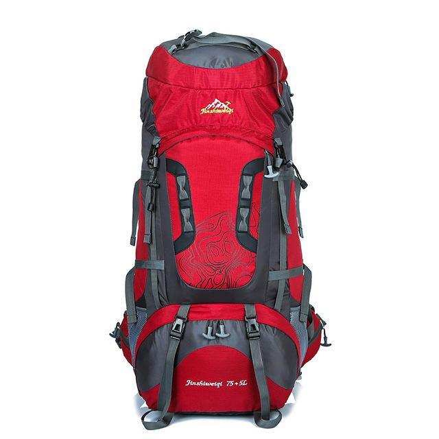 Backpacker Backpack 80Litre Large Capacity 70+5L Climbing Bag Waterproof-Backpacks-Bargain Bait Box-Red-Bargain Bait Box