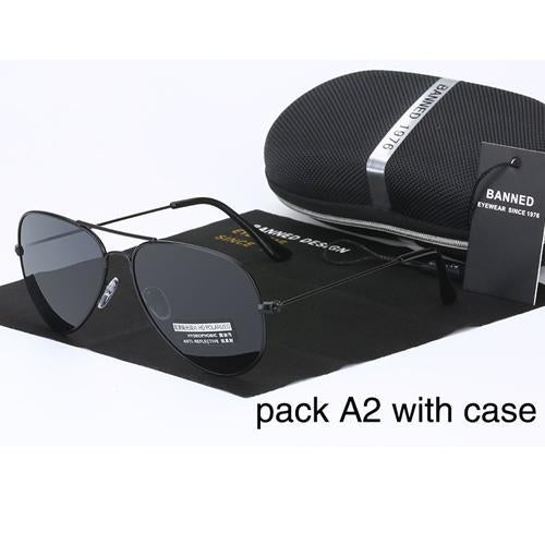 Banned 1976 Classic Hd Polarized Metal Frame Aviation Sunglasses Classic-Polarized Sunglasses-Bargain Bait Box-black-Bargain Bait Box