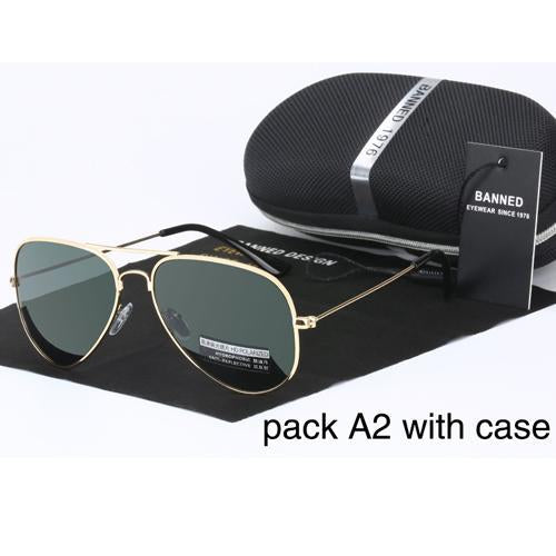 Banned 1976 Classic Hd Polarized Metal Frame Aviation Sunglasses Classic-Polarized Sunglasses-Bargain Bait Box-gold deep green-Bargain Bait Box