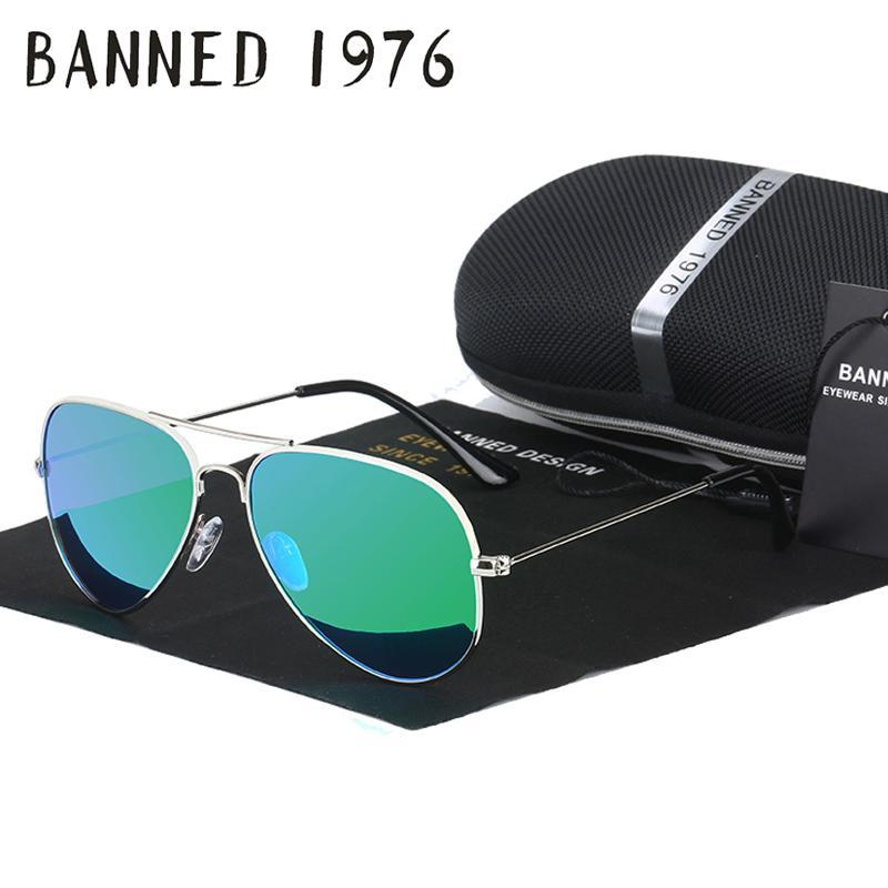 Banned 1976 Classic Hd Polarized Metal Frame Aviation Sunglasses Classic-Polarized Sunglasses-Bargain Bait Box-green mirror-Bargain Bait Box