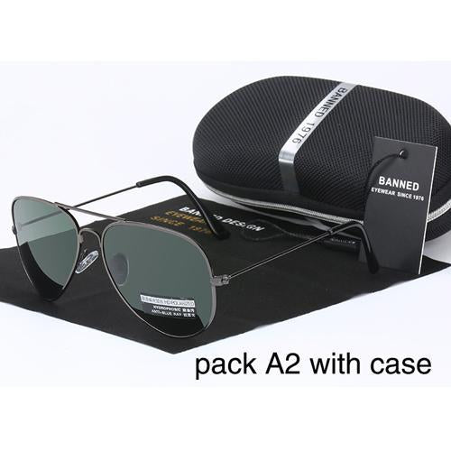 Banned 1976 Classic Hd Polarized Metal Frame Aviation Sunglasses Classic-Polarized Sunglasses-Bargain Bait Box-gun deep green-Bargain Bait Box