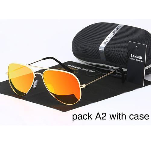 Banned 1976 Classic Hd Polarized Metal Frame Aviation Sunglasses Classic-Polarized Sunglasses-Bargain Bait Box-orange-Bargain Bait Box