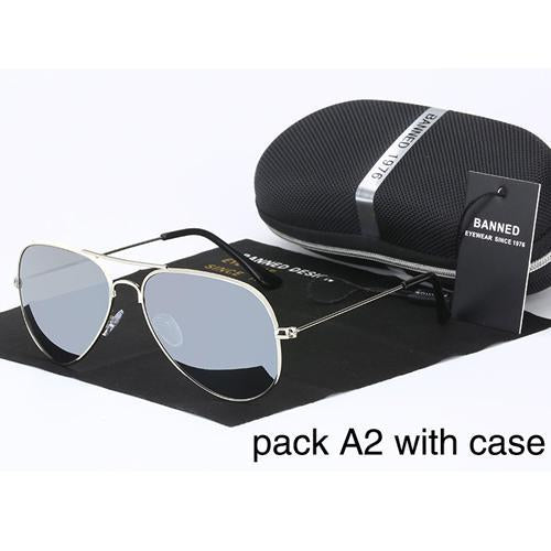 Banned 1976 Classic Hd Polarized Metal Frame Aviation Sunglasses Classic-Polarized Sunglasses-Bargain Bait Box-silver mirror-Bargain Bait Box