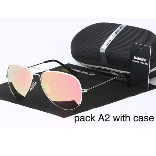 Banned 1976 Classic Hd Polarized Metal Frame Aviation Sunglasses Classic-Polarized Sunglasses-Bargain Bait Box-silver peach-Bargain Bait Box