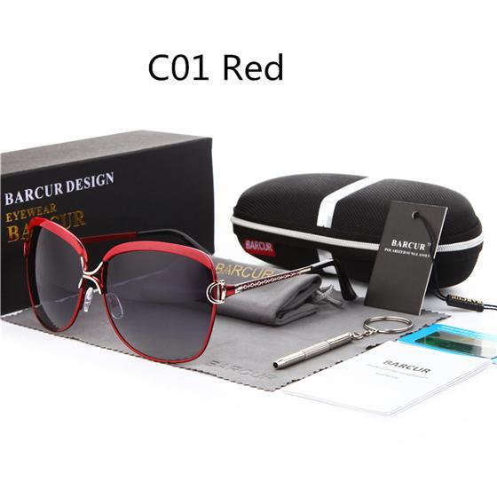 Barcur Ladies Sunglasses Women Gradient Lens Sun Glasses Women Luxury Female-Polarized Sunglasses-Bargain Bait Box-C01 Red-Bargain Bait Box