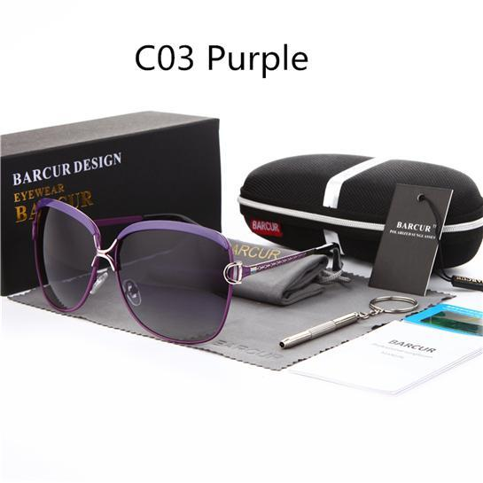Barcur Ladies Sunglasses Women Gradient Lens Sun Glasses Women Luxury Female-Polarized Sunglasses-Bargain Bait Box-C03 Purple-Bargain Bait Box