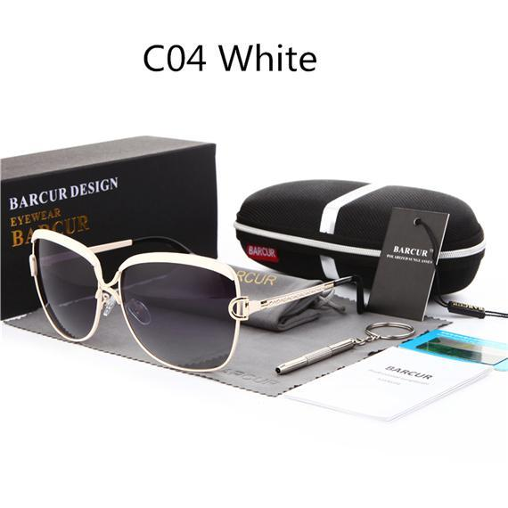 Barcur Ladies Sunglasses Women Gradient Lens Sun Glasses Women Luxury Female-Polarized Sunglasses-Bargain Bait Box-C04 White-Bargain Bait Box