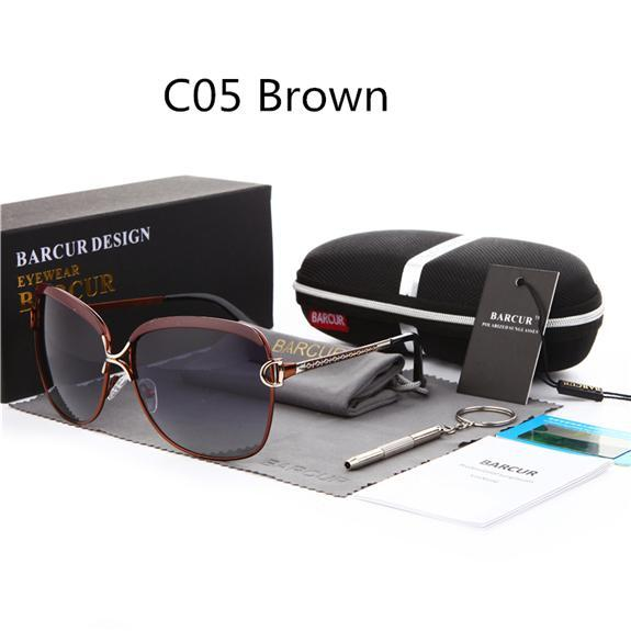 Barcur Ladies Sunglasses Women Gradient Lens Sun Glasses Women Luxury Female-Polarized Sunglasses-Bargain Bait Box-C05 Brown-Bargain Bait Box