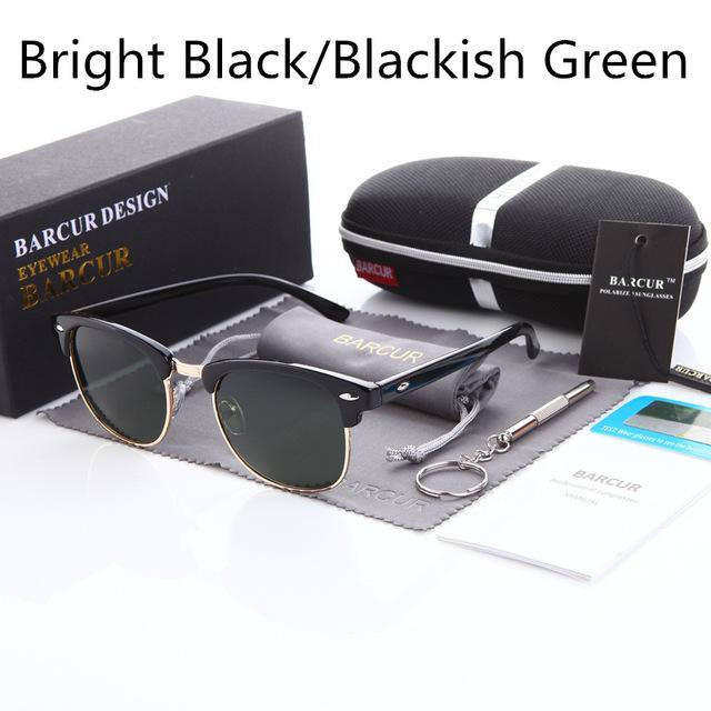 Barcur Sun Glasses Female Oculos Polarized Bc3016 Polarized Sunglasses Gafas-Polarized Sunglasses-Bargain Bait Box-Gloss black Green-Bargain Bait Box