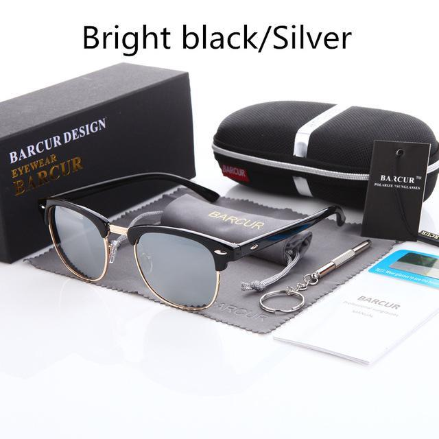 Barcur Sun Glasses Female Oculos Polarized Bc3016 Polarized Sunglasses Gafas-Polarized Sunglasses-Bargain Bait Box-Gloss black Silver-Bargain Bait Box