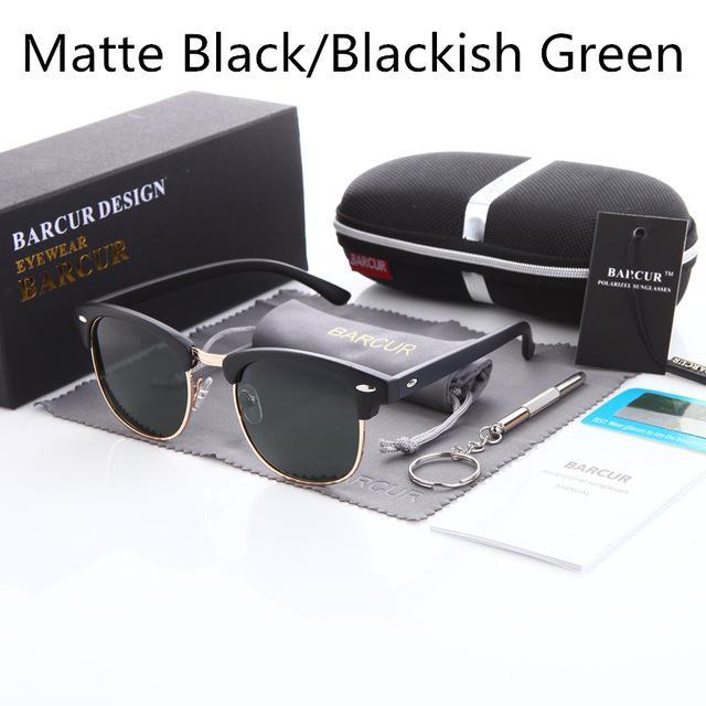 Barcur Sun Glasses Female Oculos Polarized Bc3016 Polarized Sunglasses Gafas-Polarized Sunglasses-Bargain Bait Box-Matte black Green-Bargain Bait Box