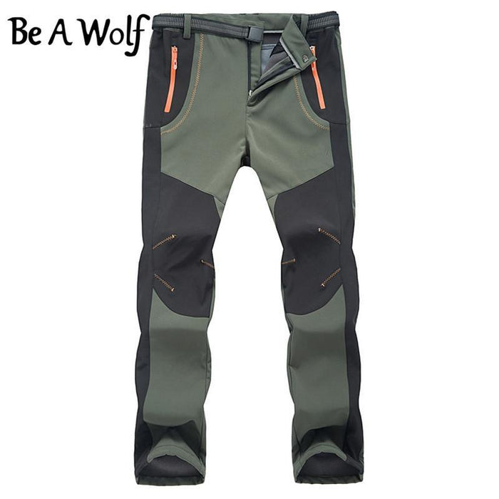 Be A Wolf Outdoor Warm Hiking Pants Men Sport Suit Winter Fishing Climbing-Be A Wolf Official Store-MEN-Army green-S-Bargain Bait Box