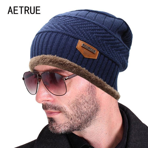 Beanies Knit Men'S Hat Caps Skullies Bonnet Hats For Men Women Beanie Fur Warm-Beanies-Bargain Bait Box-J black-Bargain Bait Box