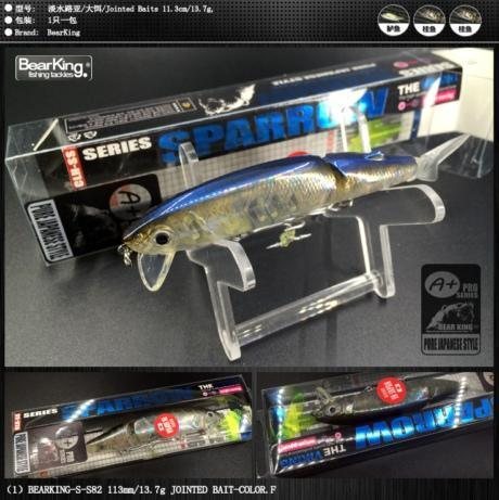 Bearking Brand 1Pcs Minnow Fishing Lure Laser Hard Artificial Bait 3D Eyes-bearking fishingtackle Store-F-Bargain Bait Box