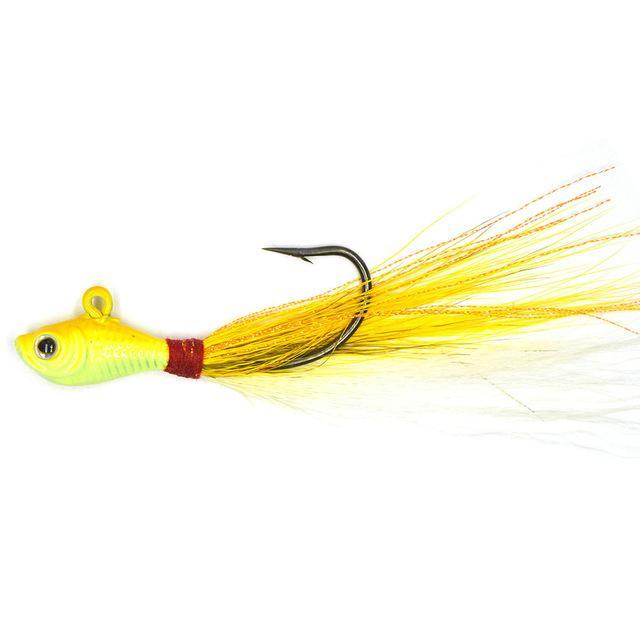 Big Game Fishing Lures 3D Eyes Bucktail Jig For Saltwater Fishing Lure-Quick Jeffrey Game Fishing Tackle-1 pieces yellow-7 G-Bargain Bait Box