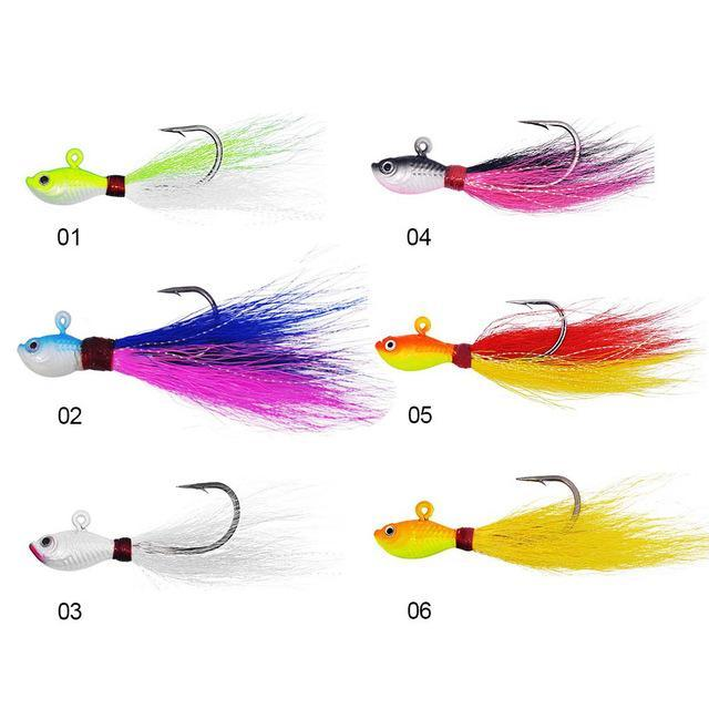 Big Game Fishing Lures 3D Eyes Bucktail Jig For Saltwater Fishing Lure-Quick Jeffrey Game Fishing Tackle-6 pieces Mixed color-7 G-Bargain Bait Box