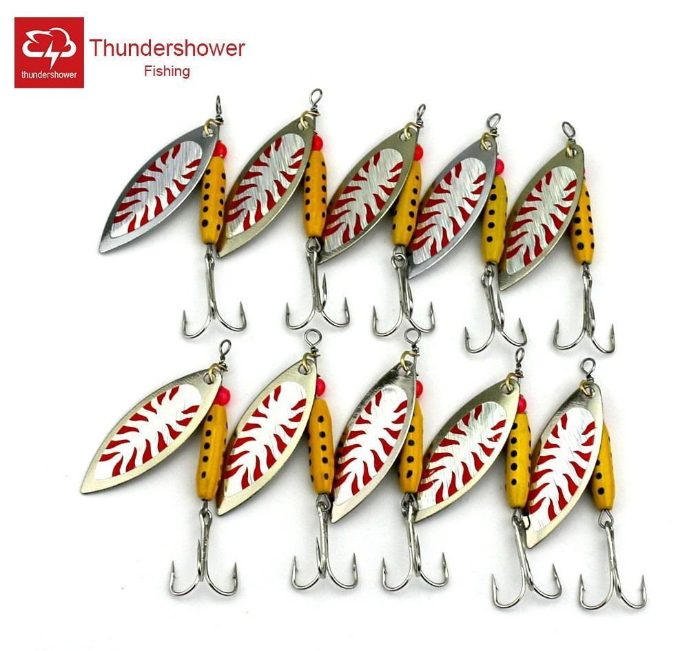Big Sale 10Pcs Spoon Fishing Lure Metal Spinner Bait Jigging Lure Feather-Musky & Pike Baits-Bargain Bait Box-Bargain Bait Box