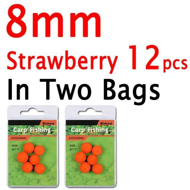 Bimoo 12Pcs 8Mm 10Mm 12Mm 14Mm Colored Pop Up Carp Fishing Boilies Flavoured-Bimoo Fishing Tackle Store-8mm Strawberry 12PCS-Bargain Bait Box
