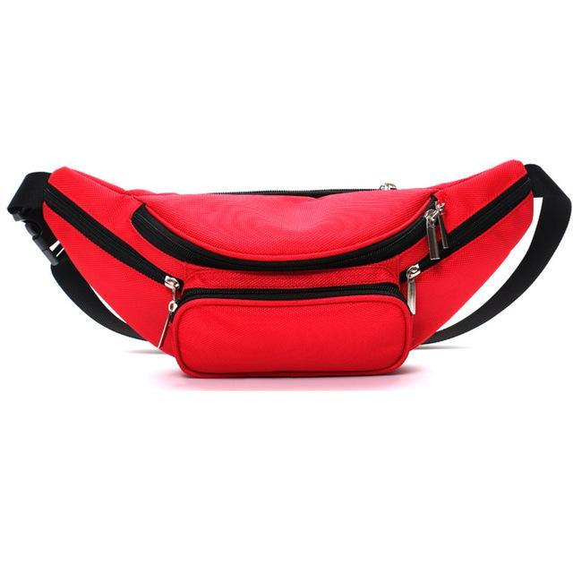 Black Polyester Zipper Women'S Waist Bag Belt Bag Men Money Belt Fanny Packs Bag-Bags-Bargain Bait Box-Red-Bargain Bait Box