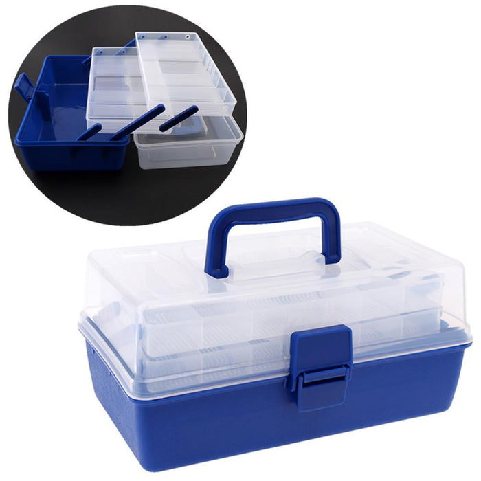 Blue + Transparent Portable 30*18*15Cm 3 Layers Big Fishing Tackle Box With-Tackle Boxes-Bargain Bait Box-Bargain Bait Box