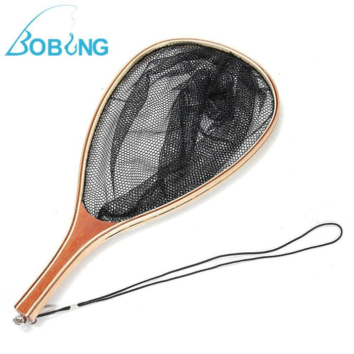 Bobing 60X28X37Cm Wooden Handle Trout Landing Nylon Small Mesh Net Catch Release-Fishing Nets-Bargain Bait Box-Bargain Bait Box