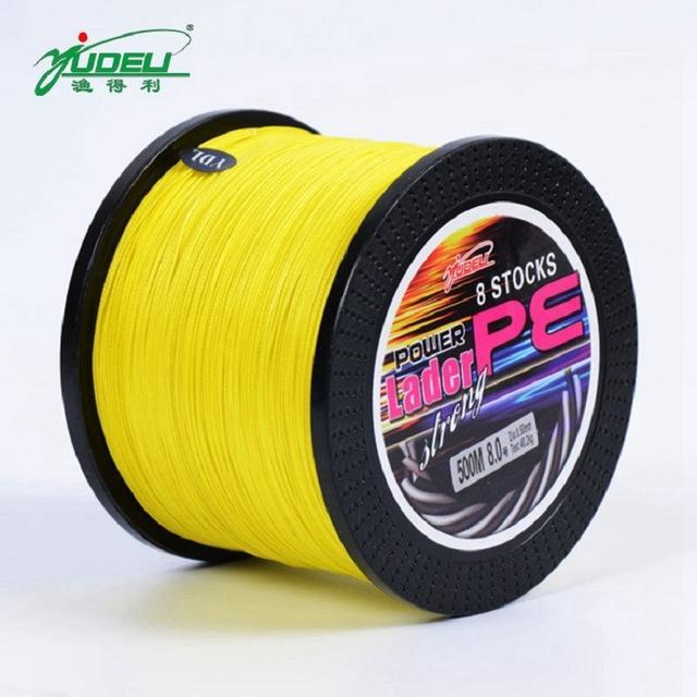 Bobing Ydl 500M 8 Strands Pe Braided Fishing Line Fishing Rope Wire String-Angler & Cyclist's Store-Yellow-1.0-Bargain Bait Box