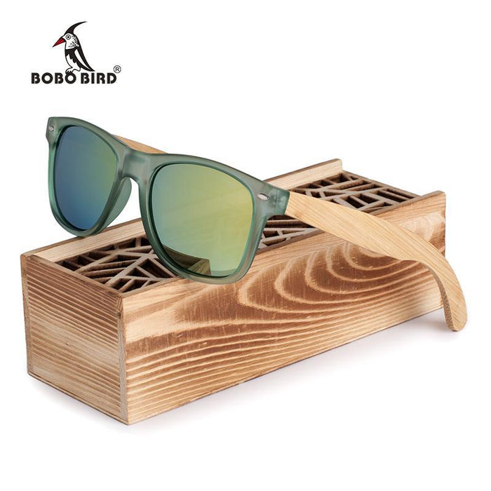 Bobo Bird Luxury Men And Women Polarized Sunglasses Bamboo Wood Holder Sun Glass-Polarized Sunglasses-Bargain Bait Box-CG002c-Green lens-Bargain Bait Box