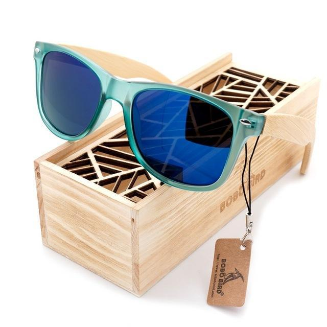 Bobo Bird Luxury Men And Women Polarized Sunglasses Bamboo Wood Holder Sun Glass-Polarized Sunglasses-Bargain Bait Box-CG002d-Blue Lens-Bargain Bait Box