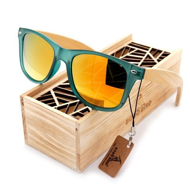 Bobo Bird Luxury Men And Women Polarized Sunglasses Bamboo Wood Holder Sun Glass-Polarized Sunglasses-Bargain Bait Box-CG002f-Yellow Lens-Bargain Bait Box