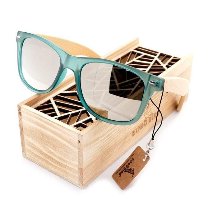 Bobo Bird Luxury Men And Women Polarized Sunglasses Bamboo Wood Holder Sun Glass-Polarized Sunglasses-Bargain Bait Box-CG002g-Sliver Lens-Bargain Bait Box