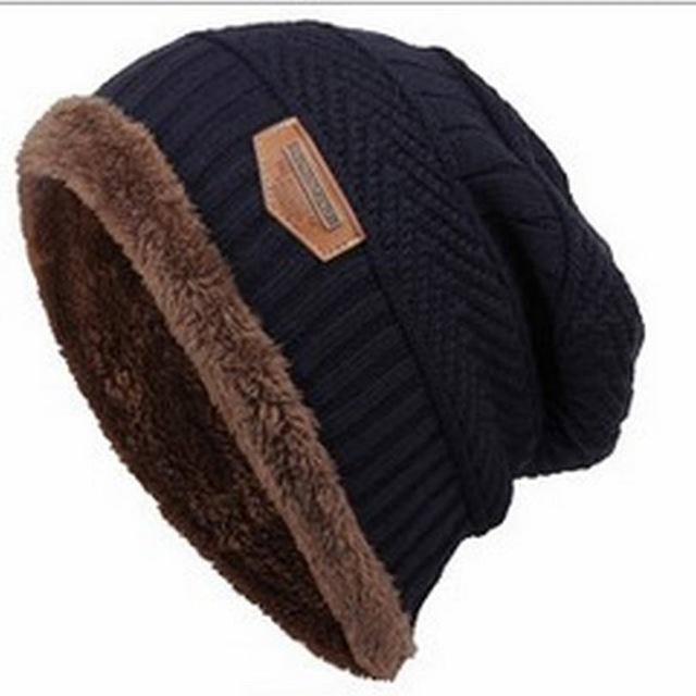 Bonnet Gorros Caps For Men Women Thick Beanie Men Knitted Hat Warm Skullies &-Beanies-Bargain Bait Box-navy-Bargain Bait Box