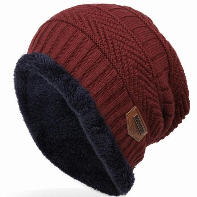 Bonnet Gorros Caps For Men Women Thick Beanie Men Knitted Hat Warm Skullies &-Beanies-Bargain Bait Box-wine red-Bargain Bait Box