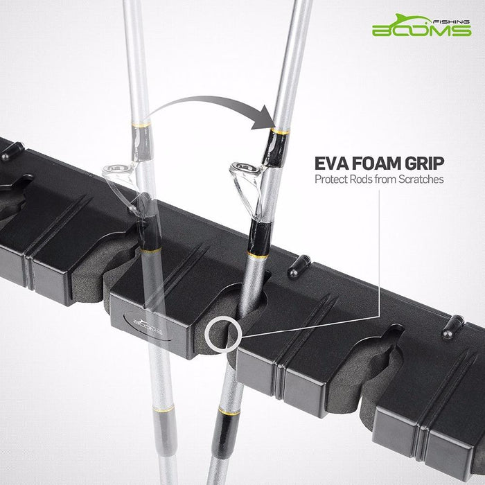 Booms Fishing Wv1 Vertical 6 Rod Rack Fishing Pole Holder Wall Mount Modular For-Fishing Tools-booms fishing Official Store-Black Narrow Clip-Bargain Bait Box
