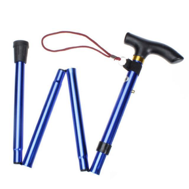 Brand 1*Outdoor Hiking Tools Stick Aluminum Alloy Metal Folding Cane Walking-Outdoor Sporting - Keep Healthy Store-Blue-Bargain Bait Box