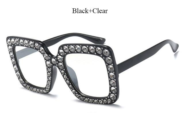 Brand Designer Sunglass Mirror Diamond Sun Glasses Female Clear Square Hot-Sunglasses-CandisGy Trend eyewear Store-YF296 Black Clear-Bargain Bait Box