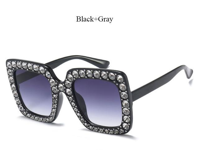 Brand Designer Sunglass Mirror Diamond Sun Glasses Female Clear Square Hot-Sunglasses-CandisGy Trend eyewear Store-YF296 Black Gray-Bargain Bait Box