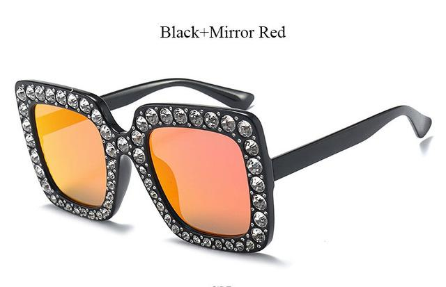 Brand Designer Sunglass Mirror Diamond Sun Glasses Female Clear Square Hot-Sunglasses-CandisGy Trend eyewear Store-YF296 Black Red-Bargain Bait Box