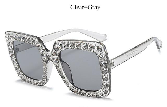 Brand Designer Sunglass Mirror Diamond Sun Glasses Female Clear Square Hot-Sunglasses-CandisGy Trend eyewear Store-YF296 Clear Gray-Bargain Bait Box