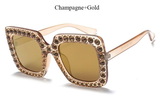 Brand Designer Sunglass Mirror Diamond Sun Glasses Female Clear Square Hot-Sunglasses-CandisGy Trend eyewear Store-YF296 Gold Gold-Bargain Bait Box